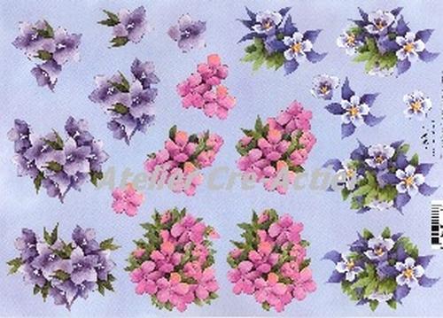 Quincy 3D knipvel Bloemen paars en roze  A4