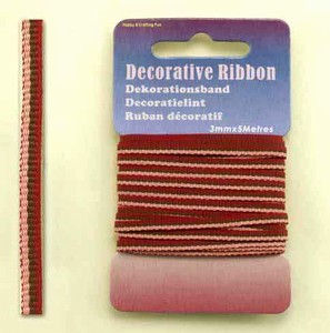 12101-0122-Decorative Ribbon-lint 3mm MultiRed  5 meter