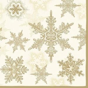 Servetten Ambiente 1330_3935 Sneeuwkristallen goud