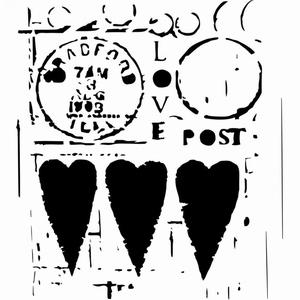 Stencil TCW455 template Love Post art. 3603-601  12inch/30x30cm