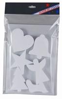 Styropor snijvormen Kerst set van 6 figuurtjes MBF009 10 cm