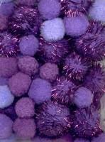 3306 Mix Pompons set Paars/glitter 50stuks 2,0-2,5en3,5cm