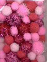 3304 Mix Pompon set Roze/glitter  50stuks 2,0-2,5en3,5cm