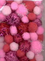 3304 Mix Pompon set Roze/glitter  50stuks