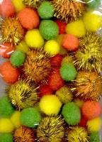3305 Mix Pompons set Pasen assortie kleuren glitter 50stuks 2,0-2,5en3,5cm