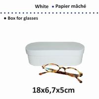 Papier mache doos; 16711-106 brillendoos karton wit  OP=OP 18x6,7x5cm