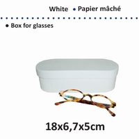 Papier mache doos; 16711-106 brillendoos karton wit  OP=OP
