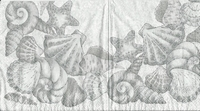 Servet Grijze schelpenkrans grijze achtergrond OP=OP 33x33cm/5stuks
