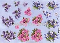 Quincy 3D knipvel Bloemen paars en roze