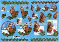 Quincy 3D knipvel Kerst Herten en Eekhoorn A4