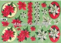 Quincy 3D knipvel: Kerstster rood en wit A4