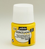 Pebeo porseleinverf: 001 Glossy Citrine yellow flacon 45ml
