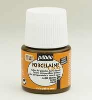 Pebeo porseleinverf: 036 Glossy Amber brown  flacon 45ml