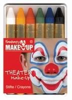 Schmink: 37050 Fantasy Theater Make Up schminkkrijtjes (6) set 6 kleuren