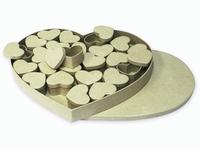 Papier mache doos; 2119293003 Hart met 24 hartendoosjes 37x33x4,5cm