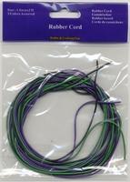 10832-1502 H&C Fun Rubber Cord zwart, paars, groen 1,5mm 12x2meter