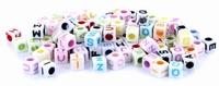KPB Letterkralen kubus assorti kleuren 20gr/ongeveer110stuks 5mm