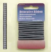 H&C Fun 12101-0113-Decorative Ribbon-lint 3mm Black/white