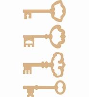 Dutch Doobadoo 461.638.907 MDF Keys/Sleutel set van 4