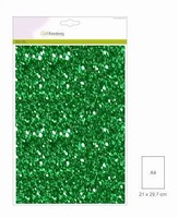 001290_0105 Glitterpapier Kerstgroen Craftemotions A4 5vel120grams