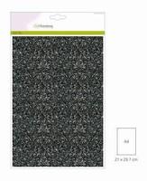 001290_0170 Glitterpapier Zwart Craftemotions A4 5vel120grams