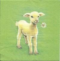 Servet: Lammetje op groene achtergrond Molca Design OP=OP 33x33cm/5stuks