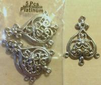 Metalen ornament/hanger omgekeerd hartje 11808-9253 OP=OP 36x26mm