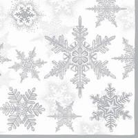 Servetten Ambiente 111330_3580 Sneeuwkristallen zilver 33x33cm/5stuks
