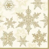 Servetten Ambiente 111330_3935 Sneeuwkristallen goud 33x33cm/5stuks