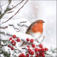 Servetten Ambiente 1330_5105 Roodborstje in de sneeuw