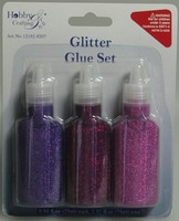 Glitter Glue H&C Fun 12192-9207 Paars ass. set 3 x 25ml