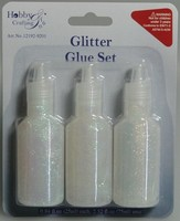 Glitter Glue H&C Fun 12192-9201 Wit / Parelmoer set 3 x 25ml