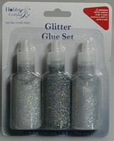 Glitter Glue H&C Fun 12192-9202 Zilver ass. set 3 x 25ml