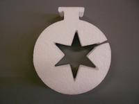 Styropor snijvorm dikte 2cm: Kerstbal met ster uitsnede 10x12cm
