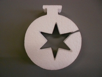 Styropor snijvorm dikte 2cm: Kerstbal met ster uitsnede