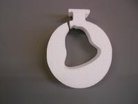 Styropor snijvorm dikte 2cm: Kerstbal met kerstklok uitsnede 10x12cm