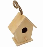 Houten vogelhuisje recht klein 10cm 8438