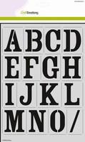 Craftemotions Stencil 185070_2201 Alfabet Vintage (H=56mm)  2x A4 kunststof