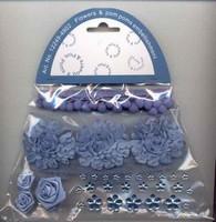 Flowers & pompons Embellishments H&C Fun 12249-4902 Blue set assorti