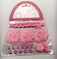 Flowers & Pompons Embellishments H&C Fun 12249-4903 Rose set assorti