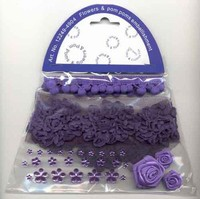 Flowers & Pompons Embellishments H&C Fun 12249-4904 Purple set assorti