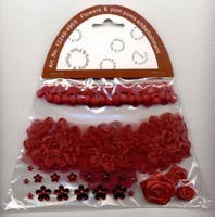 Flowers & Pompons Embellishments H&C Fun 12249-4905 Red set assorti