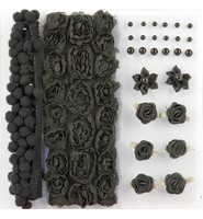Pompoms & Flowers Embellishments H&C Fun 12214-1402 Black set assorti