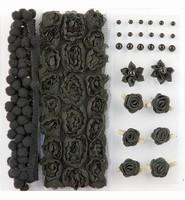 H&C Fun 12214-1402 Pompoms & Flowers Embellishments Black