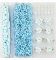 H&C Fun 12214-1404 Pompoms & Flowers Embellishments Blue