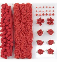 Pompoms & Flowers Embellishments H&C Fun 12214-1405 Red set assorti
