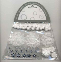 Flowers & Pompons Embellishments F&C Fun 12249-4901 White set assorti