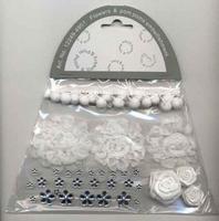 H&C Fun 12249-4901 Flowers & Pompons Embellishments White