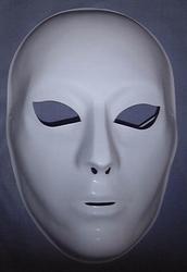 Gezichtsmasker wit dun kunststof volwassenen