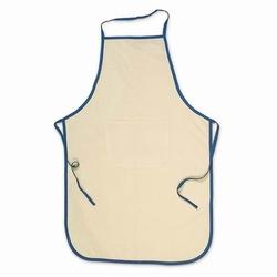 Katoenen schort, keukenschort met zak ecru,blauwe bies 85x57cm